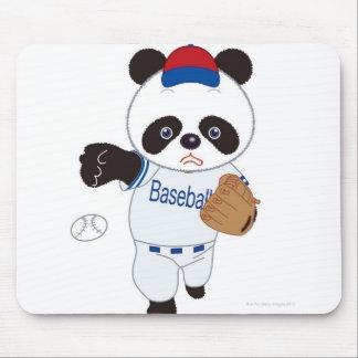 Panda Baseball Player Pitching a Baseball Mouse Mat