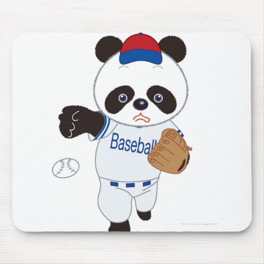 Panda Baseball Player Pitching a Baseball Mouse Mat