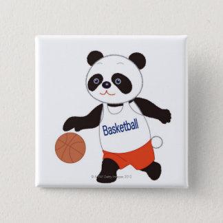 Panda Basketball Player Dribbling 15 Cm Square Badge