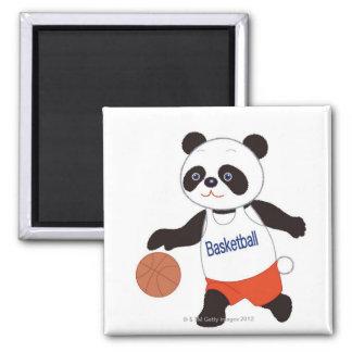 Panda Basketball Player Dribbling Magnet