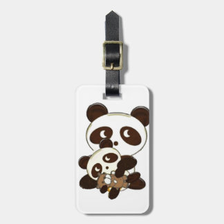Panda bear and baby luggage tag
