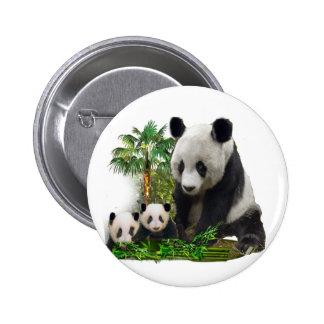 Panda bear and cubs button