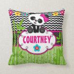 Panda Bear Animal Monogram Throw Pillow Cushion