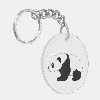 Panda bear baby cub cute illustration, gift Double-Sided round acrylic key ring