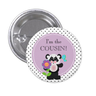 Panda Bear Baby Shower Party I'm the Cousin Button