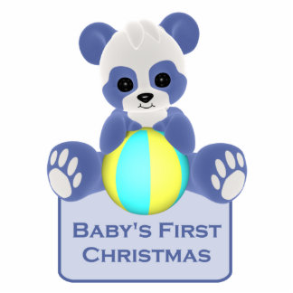 Bear photo statuettes cutouts sculptures for Baby s first christmas decoration