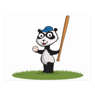 Panda Bear Baseball Postcard
