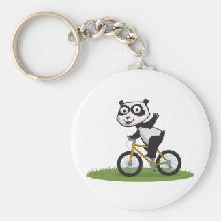 Panda Bear Biker Basic Round Button Key Ring