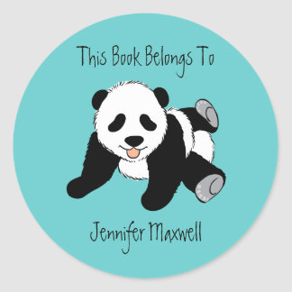 Panda Bear Bookplate Classic Round Sticker