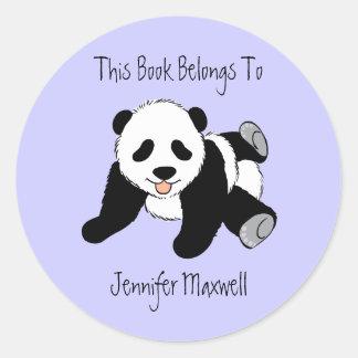 Panda Bear Bookplate Sticker