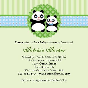 Panda baby shower invitations zazzle panda bear boy baby shower invitation filmwisefo