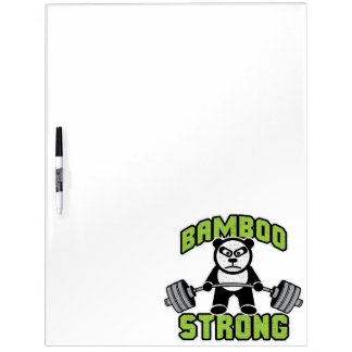 Panda Bear Cartoon - Bamboo Strong - Deadlift Dry Erase Board