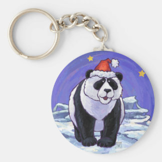 Panda Bear Christmas Basic Round Button Key Ring