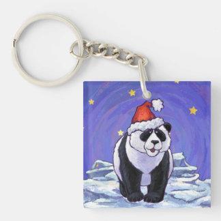 Panda Bear Christmas Single-Sided Square Acrylic Keychain
