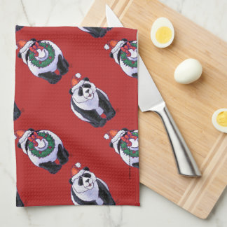 Panda Bear Christmas Tea Towel