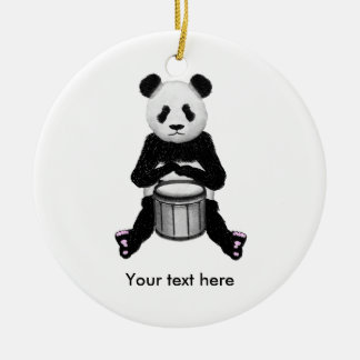 Panda Bear Drum Illustration Round Ceramic Decoration