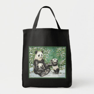 Panda Bear Family in Winter