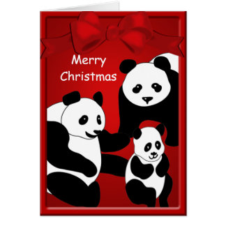 Panda Bear Family Three Merry Christmas Greeting Card