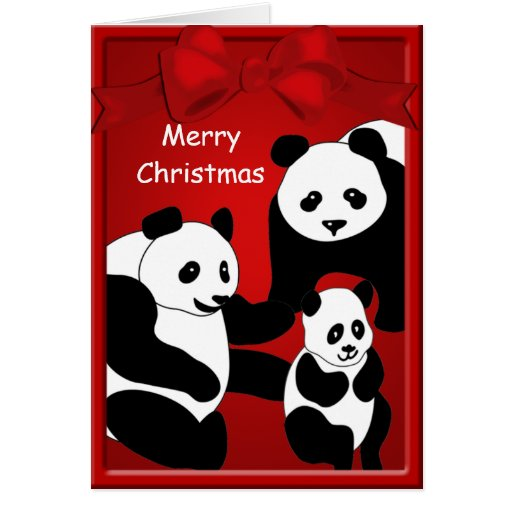 Panda Bear Family Three Merry Christmas Greeting Cards