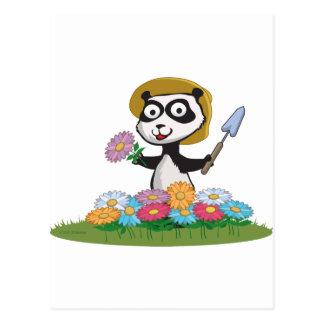 Panda Bear Flower Gardener Postcard
