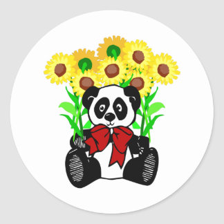 Panda Bear Flowers Round Sticker