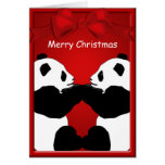 Panda Bear Friends Merry Christmas Greeting Cards
