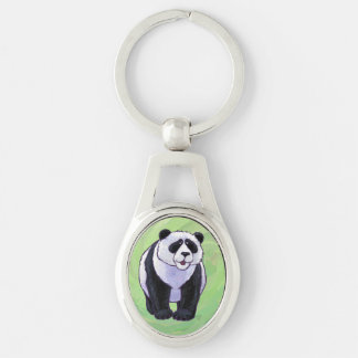Panda Bear Gifts & Accessories Silver-Colored Oval Key Ring