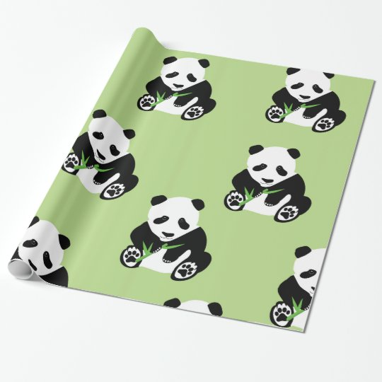 Panda Bear Glossy Wrapping Paper
