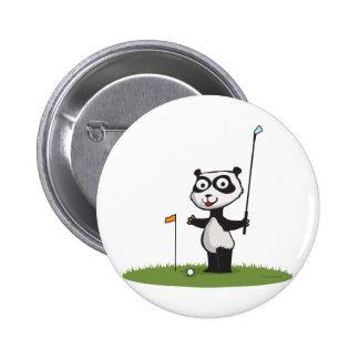 Panda Bear Golf 6 Cm Round Badge