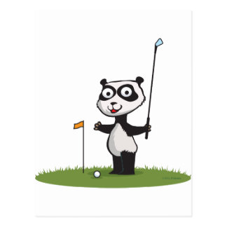 Panda Bear Golf Postcard