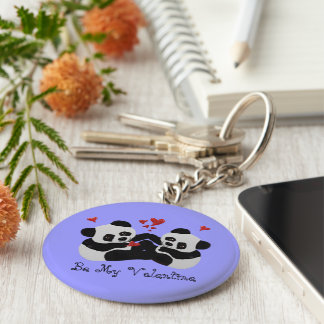 Panda Bear Hearts Basic Round Button Key Ring