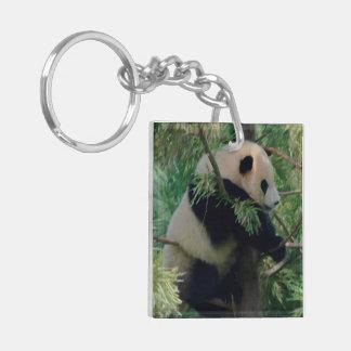 Panda Bear Hugs Double-Sided Square Acrylic Keychain