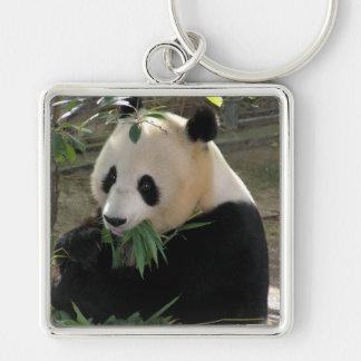 Panda Bear Hugs Silver-Colored Square Key Ring