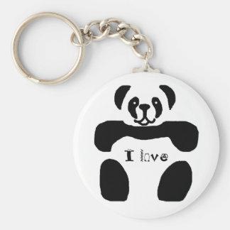 Panda bear, I love key chain