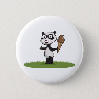 Panda Bear Ice Cream 6 Cm Round Badge