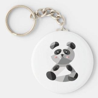 Panda Bear Basic Round Button Keychain