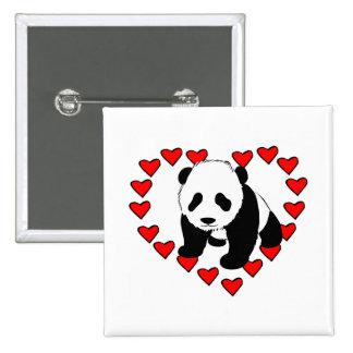 Panda Bear Love 15 Cm Square Badge