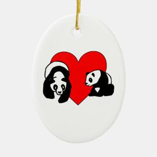 Panda Bear Love Ceramic Oval Decoration