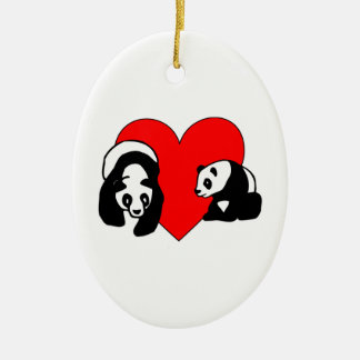 Panda Bear Love Christmas Ornament