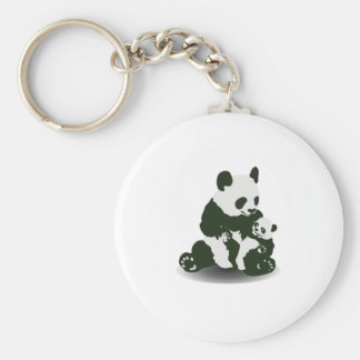 Panda Bear Love for her Baby Basic Round Button Key Ring