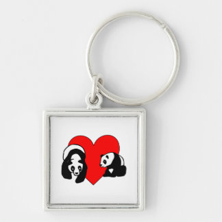 Panda Bear Love Silver-Colored Square Key Ring