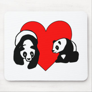 Panda Bear Love Mouse Pad