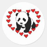 Panda Bear Love Round Stickers