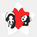Panda Bear Love Star Sticker