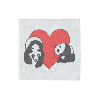 Panda Bear Love Stone Magnet