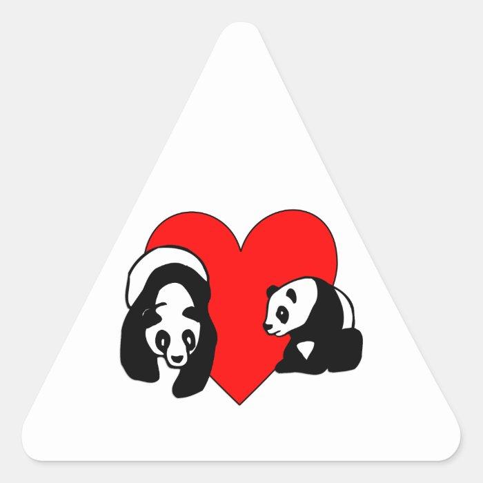Panda Bear Love Triangle Sticker
