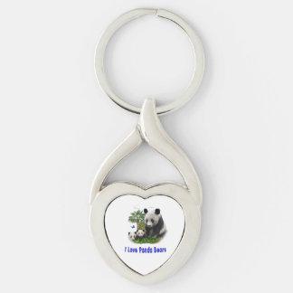 Panda Bear merchandise Silver-Colored Twisted Heart Key Ring