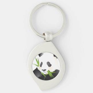 Panda Bear Silver-Colored Swirl Key Ring