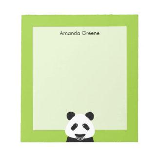 Panda Bear Modern Green Personalized Notepad