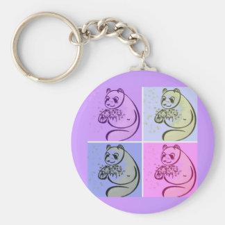 Panda Bear Pop Art Basic Round Button Key Ring